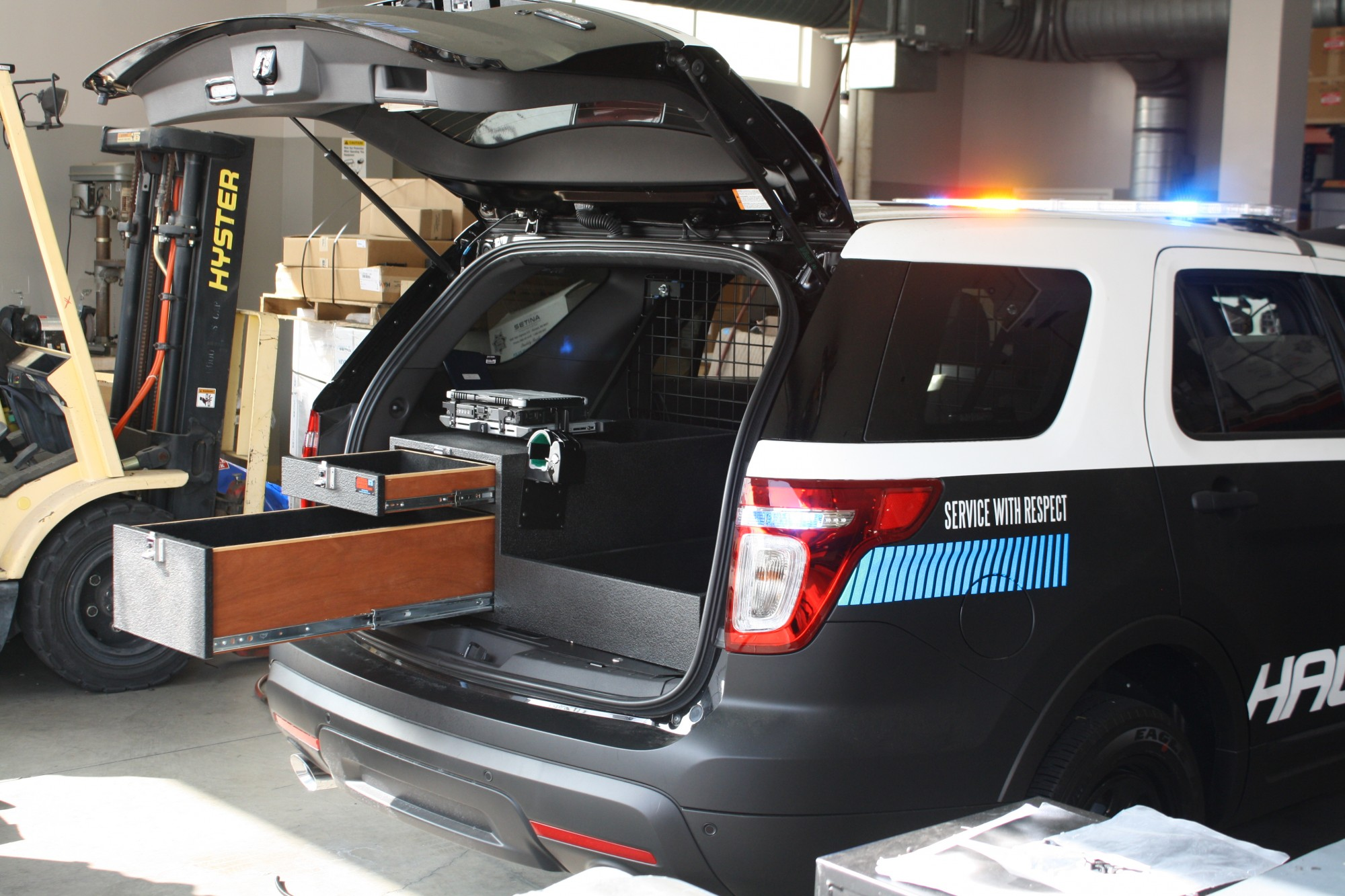 police suv storing guns carpet lined to reduce rattle and noise